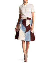 Gracia - Suede Patched Button Up Skirt - Lyst