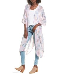 Sole Society - Faded Floral Duster Kimono Scarf - Lyst