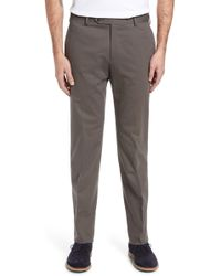 Zanella - Parker Flat Front Solid Stretch Cotton Trousers - Lyst