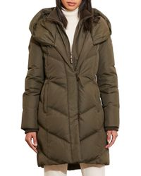 Lauren by Ralph Lauren - Quilted Hooded Coat With Knit Trim - Lyst