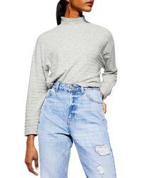 TOPSHOP Chunky Rib Cut And Sew Sweatshirt