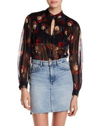 Lucky Brand - Printed Keyhole Blouse - Lyst