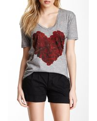 Go Couture - Deep V-neck Printed Pocket Tee - Lyst