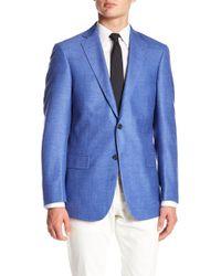 Hart Schaffner Marx - Blue Sharkskin Notch Lapel Wool New York Fit Blazer - Lyst