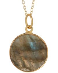 Argento Vivo - 18k Gold Plated Sterling Silver Round Labradorite Pendant Necklace - Lyst
