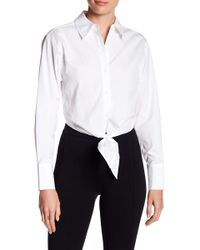 Diane von Furstenberg - Long Sleeve Collared Front Tie Crop Shirt - Lyst