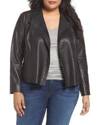 Halogen - (r) Asymmetrical Leather Jacket (plus Size) - Lyst