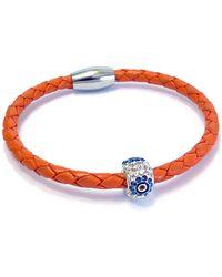 Liza Schwartz - Sterling Silver Plated Pave Cz Evil Eye Orange Leather Bracelet - Lyst