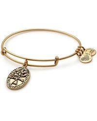 ALEX AND ANI - Friend Flower Charm Expandable Wire Bangle Bracelet - Lyst