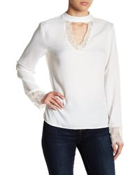 Vero Moda | Nile Lace Trim Long Sleeve Blouse | Lyst