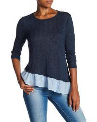 Lily White - Knit To Woven Contrast Asymmetrical Hem Shirt - Lyst