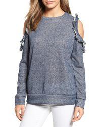 Caslon - Caslon Ruffle Trim Cold Shoulder Sweatshirt - Lyst