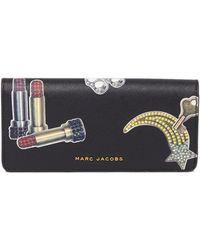 Marc Jacobs - Tossed Charms Saffiano Leather Flap Wallet - Lyst