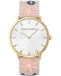 Rebecca Minkoff - Women's Major Analog Quartz Embroidered Leather Strap Watch, 40mm - Lyst