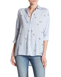 Dress Forum - Hi-lo Split Collar Long Sleeve Shirt - Lyst