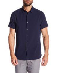 Kenneth Cole - Seersucker Short Sleeve Regular Fit Shirt - Lyst