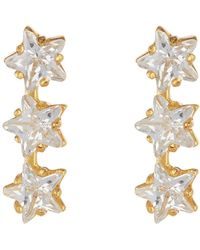 Argento Vivo - 18k Gold Plated Sterling Silver Triple Star Cz Bar Earrings - Lyst