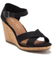 TOMS Sienna Cork Wedge Sandal - Black