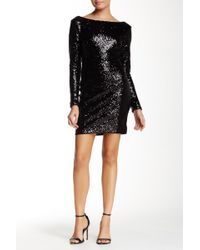 Dress the Population - Kelly Long Sleeve Sequined Dress - Lyst