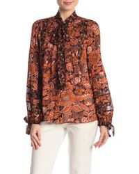 Anna Sui Multi-print Tie Front Long Sleeve Blouse