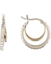 Judith Jack - Gold Plated Sterling Silver Swarovski Crystal Double Hoop Earrings - Lyst