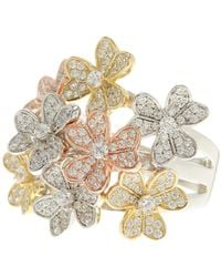 Savvy Cie Jewels - Tri-color Cz Floral Bouquet Ring - Lyst