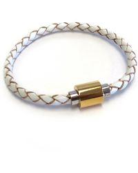 Liza Schwartz Single White Premium Leather Bracelet