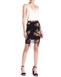 Lush - Floral Mesh Ruched Mini Skirt - Lyst