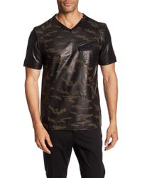 Daniel Won - Camouflage Print Genuine Leather Shirt - Lyst