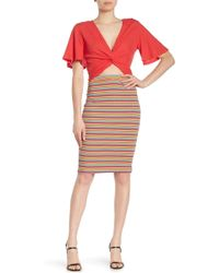Lush - Striped Ribbed Pencil Skirt - Lyst