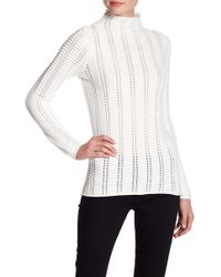French Connection - Mozart Perforated Mock Neck Sweater - Lyst
