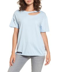 TOPSHOP - Ripped Cotton Tee - Lyst