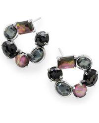 Ippolita - Sterling Silver Bezel & Prong Set Black Onyx Open Circle Earrings - Lyst