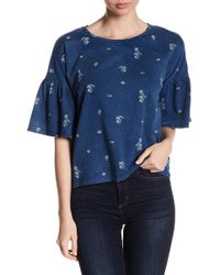 Two By Vince Camuto - 3/4 Sleeve Print Blouse - Lyst