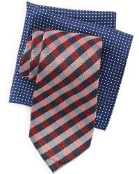 Tommy Hilfiger - Silk Blue Ground Plaid Tie & Pocket Square Box Set - Lyst
