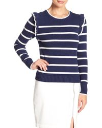 Cupcakes And Cashmere - Bryant Striped Ruffle Detail Crew Neck Sweater - Lyst