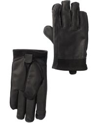 UGG - Mixed Leather Faux Fur Lined Tech Gloves - Lyst