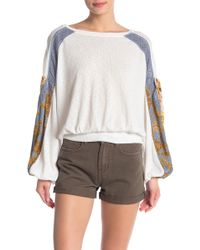 Free People - Casual Clash Mixed Media Sweater - Lyst