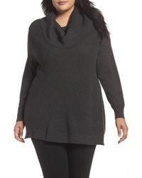 Sejour - Cowl Neck Ribbed Trim Pullover (plus Size) - Lyst