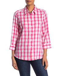 Foxcroft - Sue Plaid Crinkle Button Down Shirt (plus Size Available) - Lyst