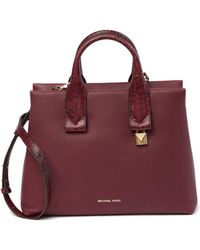 MICHAEL Michael Kors - Rollins Large Snake Embossed Leather Satchel - Lyst