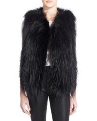 Tasha Tarno - Open-Front Fox Fur Vest - Lyst
