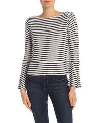 Splendid - Striped Boatneck Bell Sleeve Shirt - Lyst