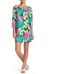 Tori Richard - Jacquelyn 3/4 Sleeve Floral Print Dress - Lyst