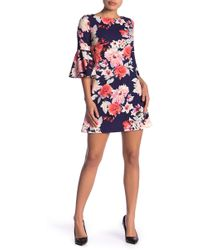 9a5b31370698 Eliza J - Floral Print Bell Sleeve Shift Dress (petite) - Lyst