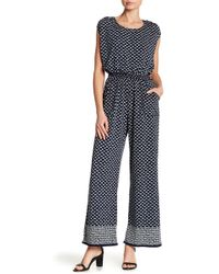 Max Studio - Printed Jersey Jumpsuit - Lyst
