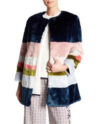 Ted Baker - Mississippi Colorblock Faux Fur Coat - Lyst