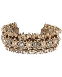 Marchesa - Crystal & Imitation Pearl Open Cuff Bracelet - Lyst