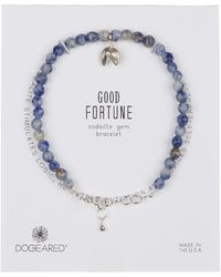 Dogeared - Sterling Silver Sodalite Bead & Fortune Cookie Charm Bracelet - Lyst