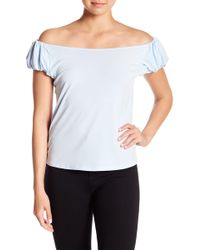 d3cf3c436f2ca Lyst - Cece By Cynthia Steffe Ruched Off-the-shoulder Eyelet Blouse ...